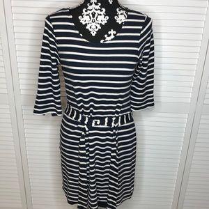 Banana Republic Striped Belted Dress Medium